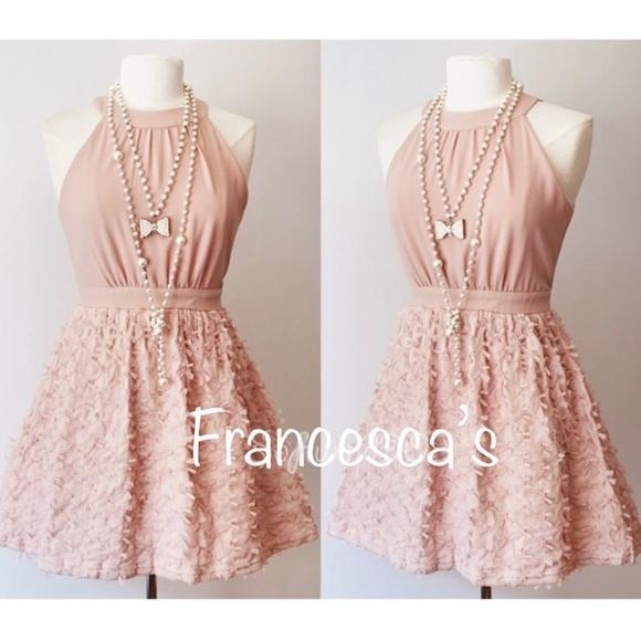 Francescas Buttons Blush Pink Mesh Bows Dress